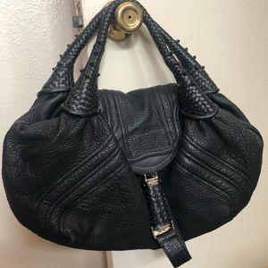 Fendi spy bag hobo black leather zucca lining